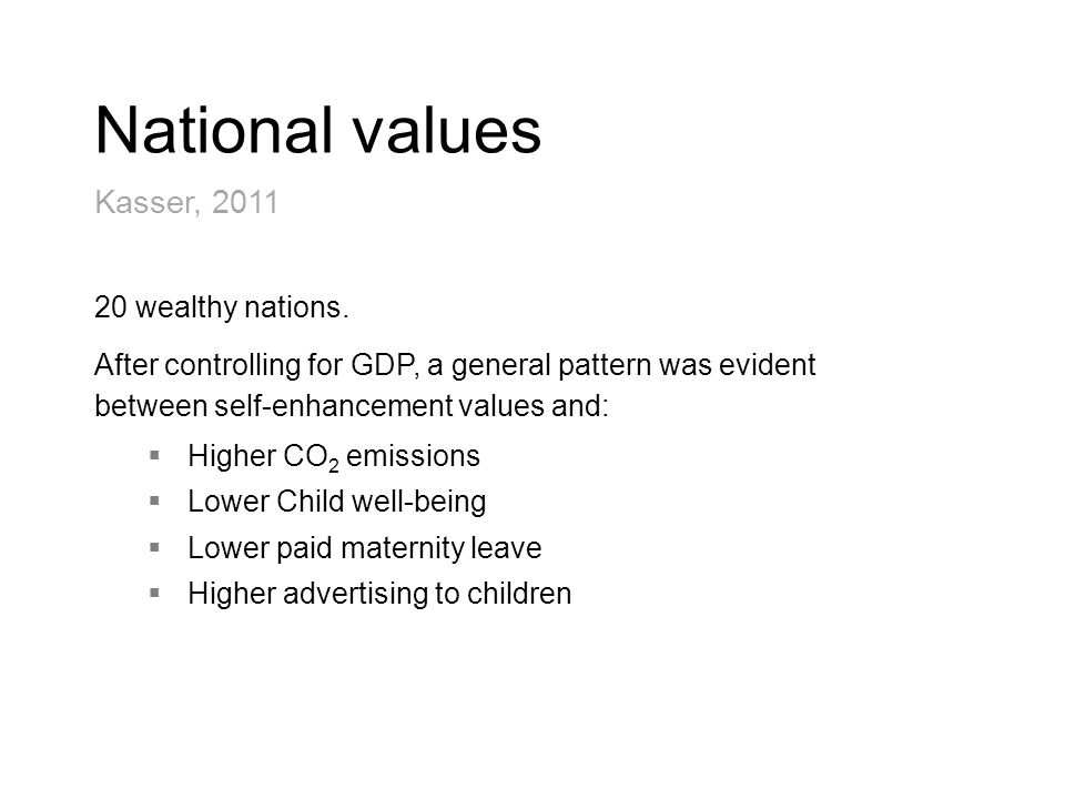National values Kasser, 2011 20 wealthy nations.