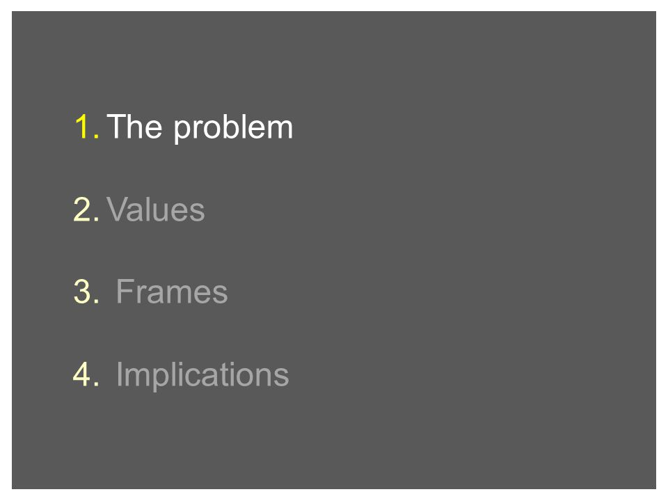 1. The problem 2. Values 3. Frames 4. Implications