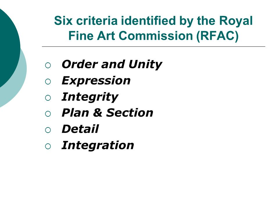 Six criteria identified by the Royal Fine Art Commission (RFAC) Order and Unity Expression Integrity Plan & Section Detail Integration