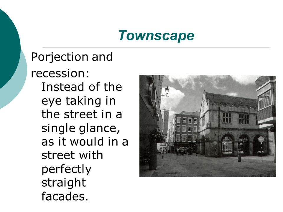 Townscape Porjection and recession: Instead of the eye taking in the street in a single glance, as it would in a street with perfectly straight facades.