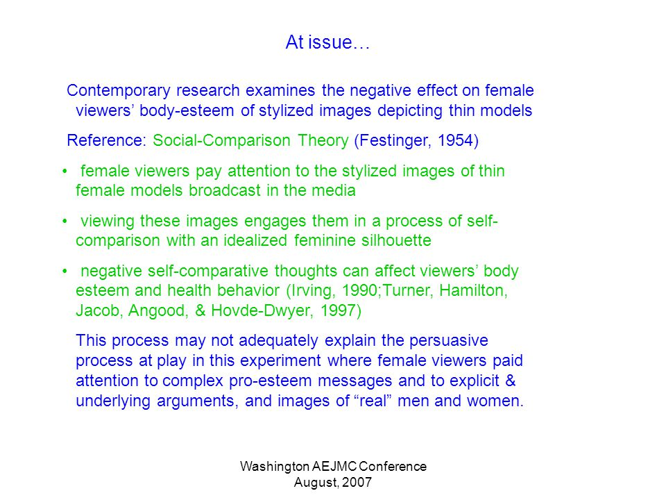Washington AEJMC Conference August, 2007 At issue… Contemporary research examines the negative effect on female viewers body-esteem of stylized images depicting thin models Reference: Social-Comparison Theory (Festinger, 1954) female viewers pay attention to the stylized images of thin female models broadcast in the media viewing these images engages them in a process of self- comparison with an idealized feminine silhouette negative self-comparative thoughts can affect viewers body esteem and health behavior (Irving, 1990;Turner, Hamilton, Jacob, Angood, & Hovde-Dwyer, 1997) This process may not adequately explain the persuasive process at play in this experiment where female viewers paid attention to complex pro-esteem messages and to explicit & underlying arguments, and images of real men and women.