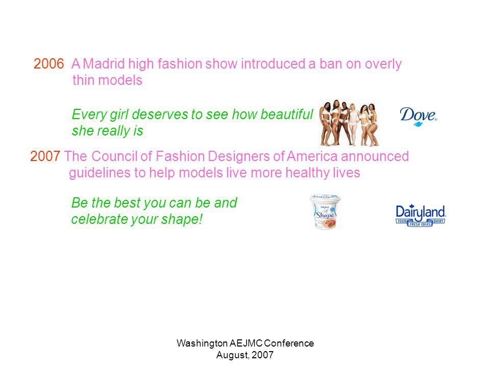 Washington AEJMC Conference August, 2007 2006 A Madrid high fashion show introduced a ban on overly thin models 2007 The Council of Fashion Designers of America announced guidelines to help models live more healthy lives Be the best you can be and celebrate your shape.