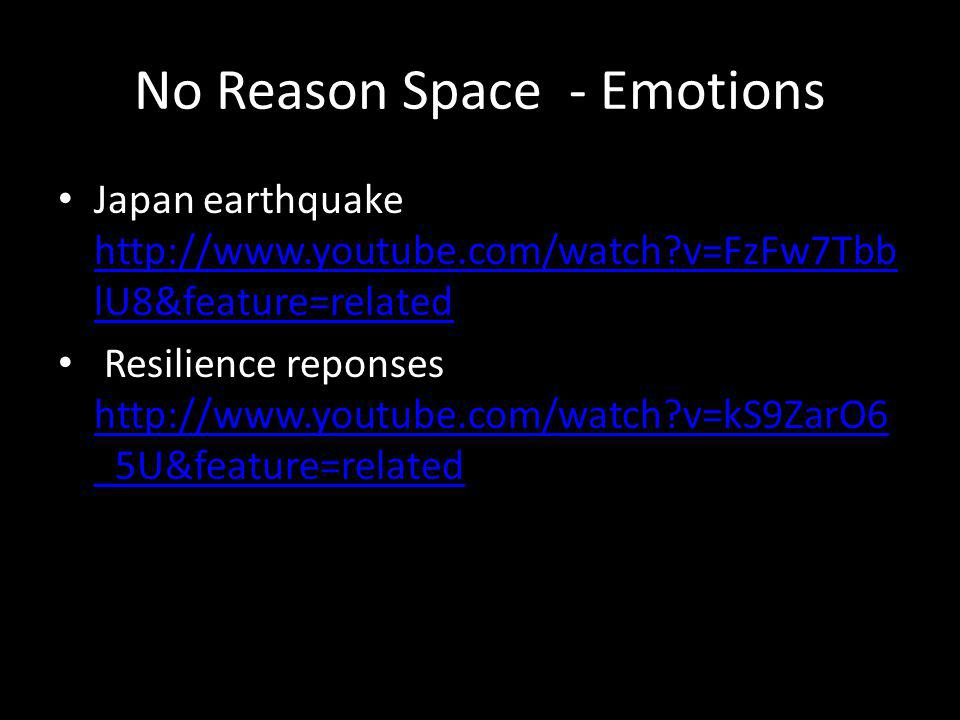 No Reason Space - Emotions Japan earthquake http://www.youtube.com/watch v=FzFw7Tbb lU8&feature=related http://www.youtube.com/watch v=FzFw7Tbb lU8&feature=related Resilience reponses http://www.youtube.com/watch v=kS9ZarO6 _5U&feature=related http://www.youtube.com/watch v=kS9ZarO6 _5U&feature=related