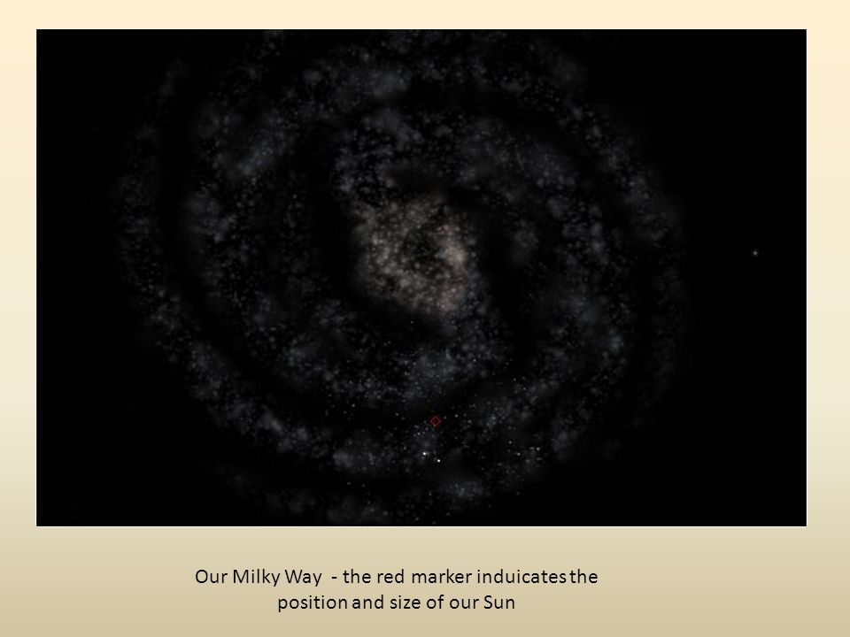 Our Milky Way - the red marker induicates the position and size of our Sun