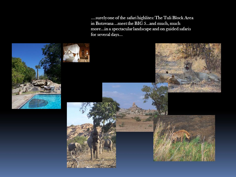 ….surely one of the safari highlites: The Tuli Block Area in Botswana …meet the BIG 5…and much, much more…in a spectacular landscape and on guided safaris for several days…