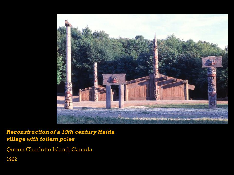 Reconstruction of a 19th century Haida village with totlem poles Queen Charlotte Island, Canada 1962