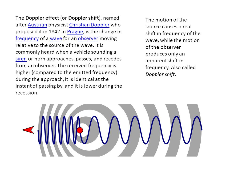 The Doppler effect (or Doppler shift), named after Austrian physicist Christian Doppler who proposed it in 1842 in Prague, is the change in frequency of a wave for an observer moving relative to the source of the wave.