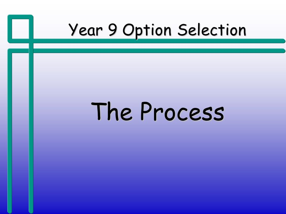 Year 9 Option Selection The Process