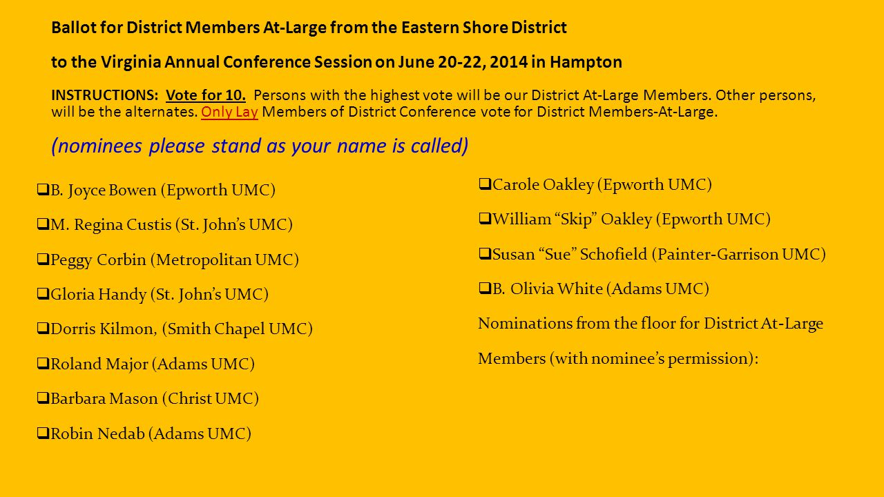 Ballot for District Members At-Large from the Eastern Shore District to the Virginia Annual Conference Session on June 20-22, 2014 in Hampton INSTRUCTIONS: Vote for 10.