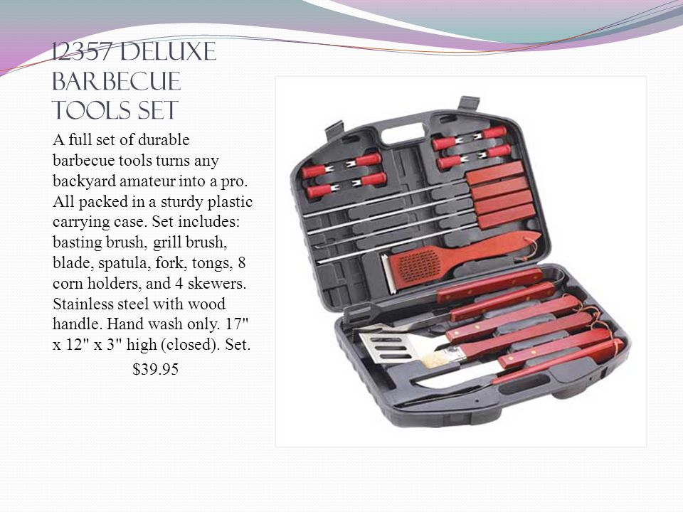 12357 deluxe barbecue tools set A full set of durable barbecue tools turns any backyard amateur into a pro.