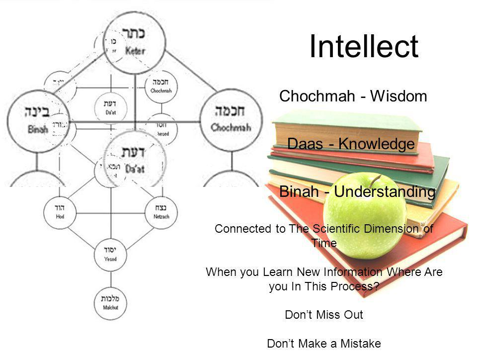 Intellect Chochmah - Wisdom Daas - Knowledge Binah - Understanding Connected to The Scientific Dimension of Time When you Learn New Information Where Are you In This Process.