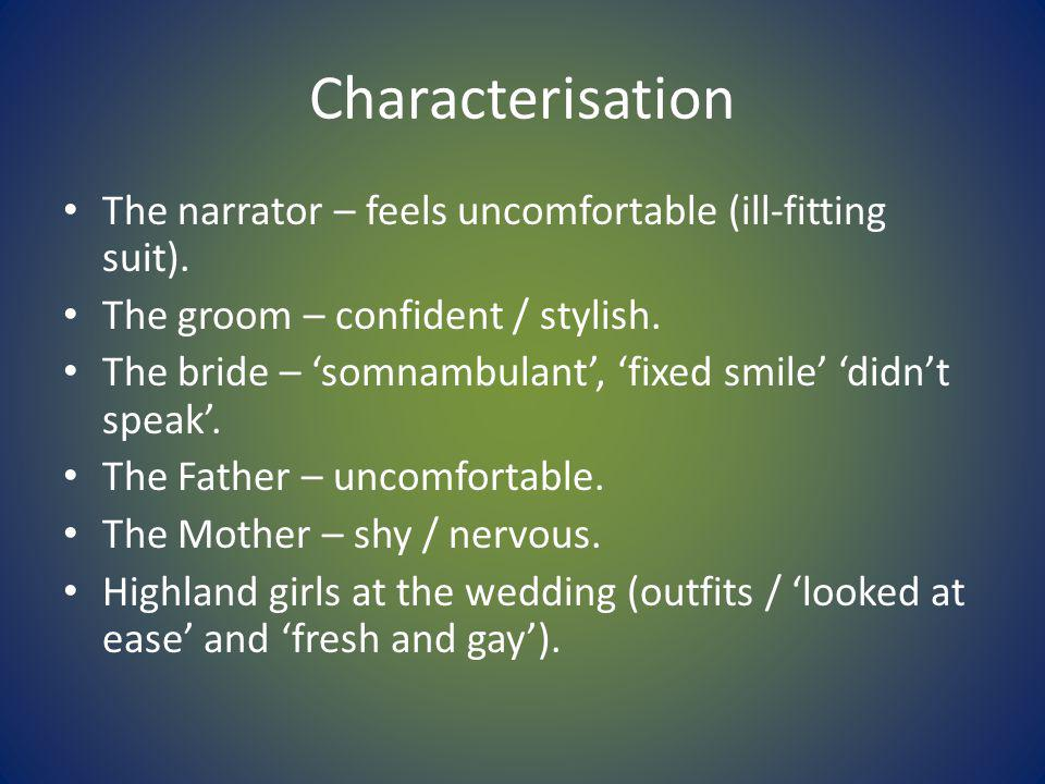 Characterisation The narrator – feels uncomfortable (ill-fitting suit).