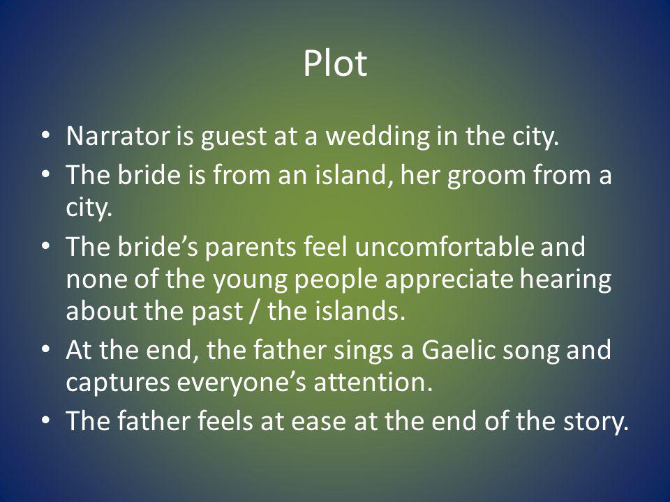 Plot Narrator is guest at a wedding in the city.