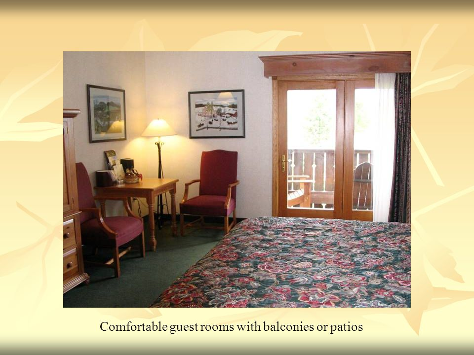 Comfortable guest rooms with balconies or patios