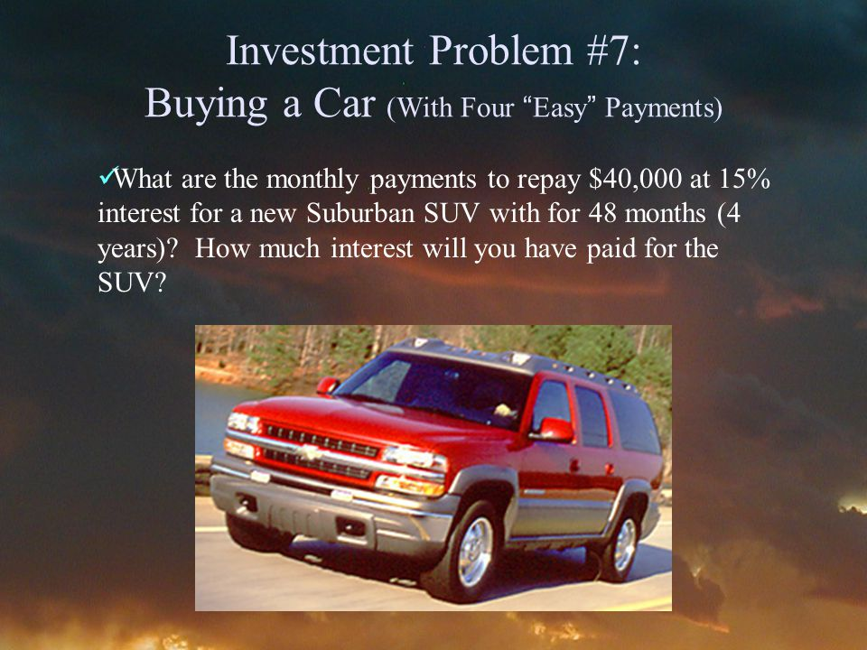 Investment Problem #7: Buying a Car (With Four Easy Payments) What are the monthly payments to repay $40,000 at 15% interest for a new Suburban SUV with for 48 months (4 years).
