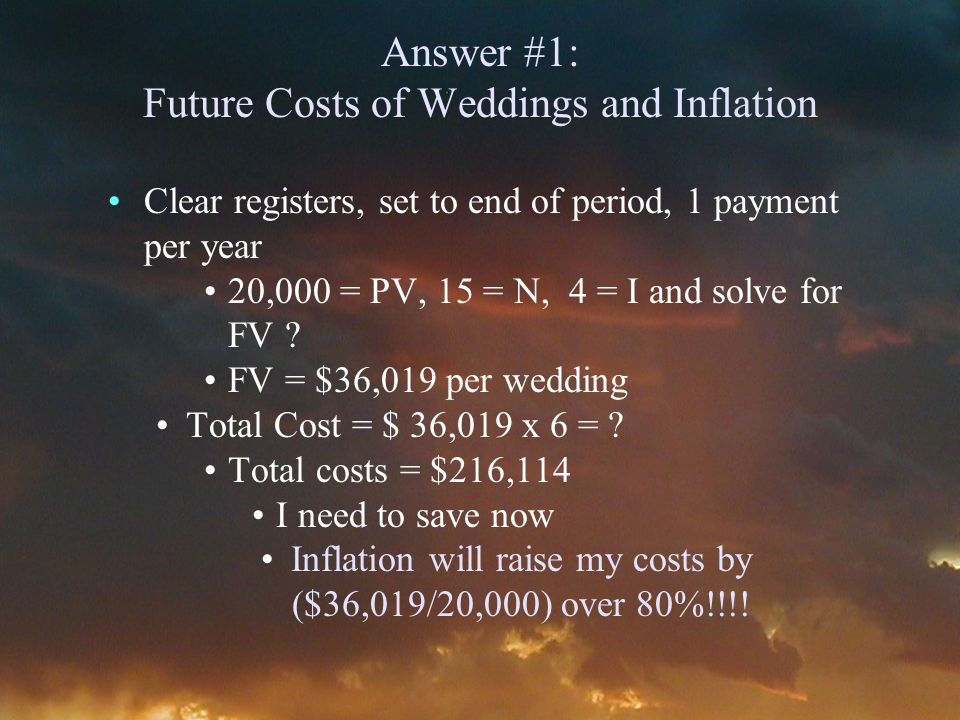Answer #1: Future Costs of Weddings and Inflation Clear registers, set to end of period, 1 payment per year 20,000 = PV, 15 = N, 4 = I and solve for FV .