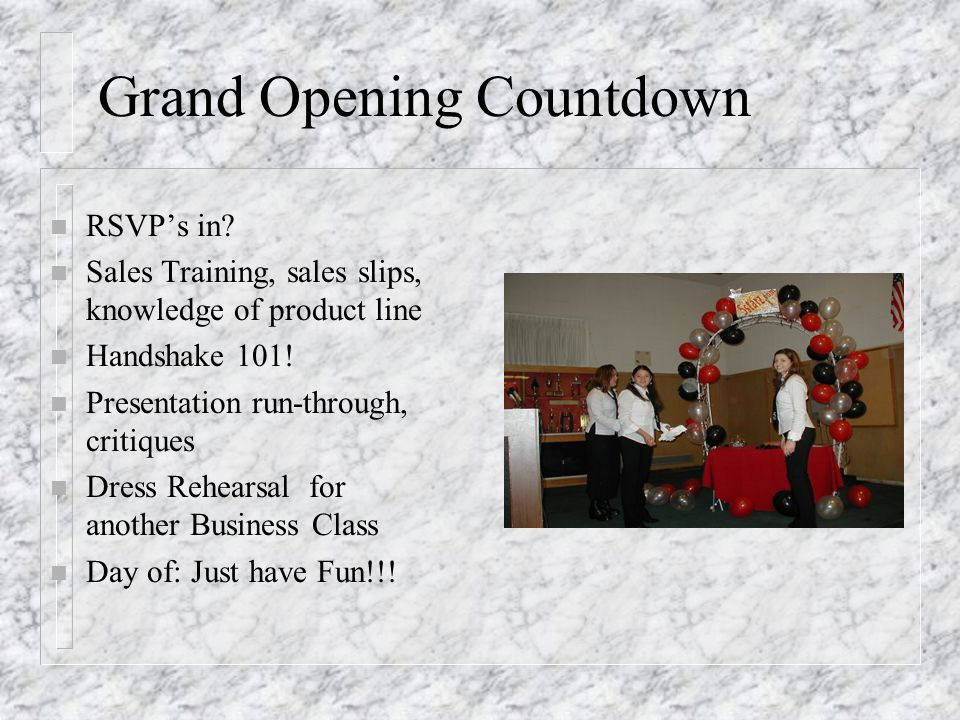 Grand Opening Countdown n RSVPs in.