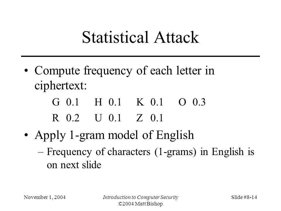 November 1, 2004Introduction to Computer Security ©2004 Matt Bishop Slide #8-14 Statistical Attack Compute frequency of each letter in ciphertext: G0.1H0.1K0.1O0.3 R0.2U0.1Z0.1 Apply 1-gram model of English –Frequency of characters (1-grams) in English is on next slide