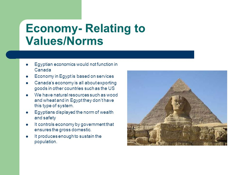 Economy- Relating to Values/Norms Egyptian economics would not function in Canada Economy in Egypt is based on services Canadas economy is all about exporting goods in other countries such as the US We have natural resources such as wood and wheat and in Egypt they dont have this type of system.