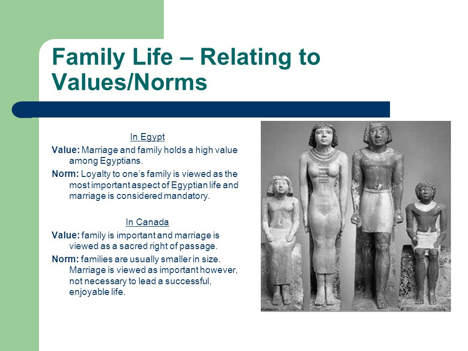 Family Life – Relating to Values/Norms In Egypt Value: Marriage and family holds a high value among Egyptians.