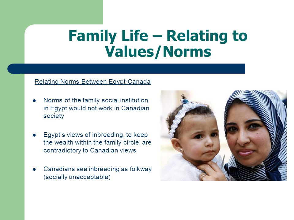 Family Life – Relating to Values/Norms Relating Norms Between Egypt-Canada Norms of the family social institution in Egypt would not work in Canadian society Egypts views of inbreeding, to keep the wealth within the family circle, are contradictory to Canadian views Canadians see inbreeding as folkway (socially unacceptable)