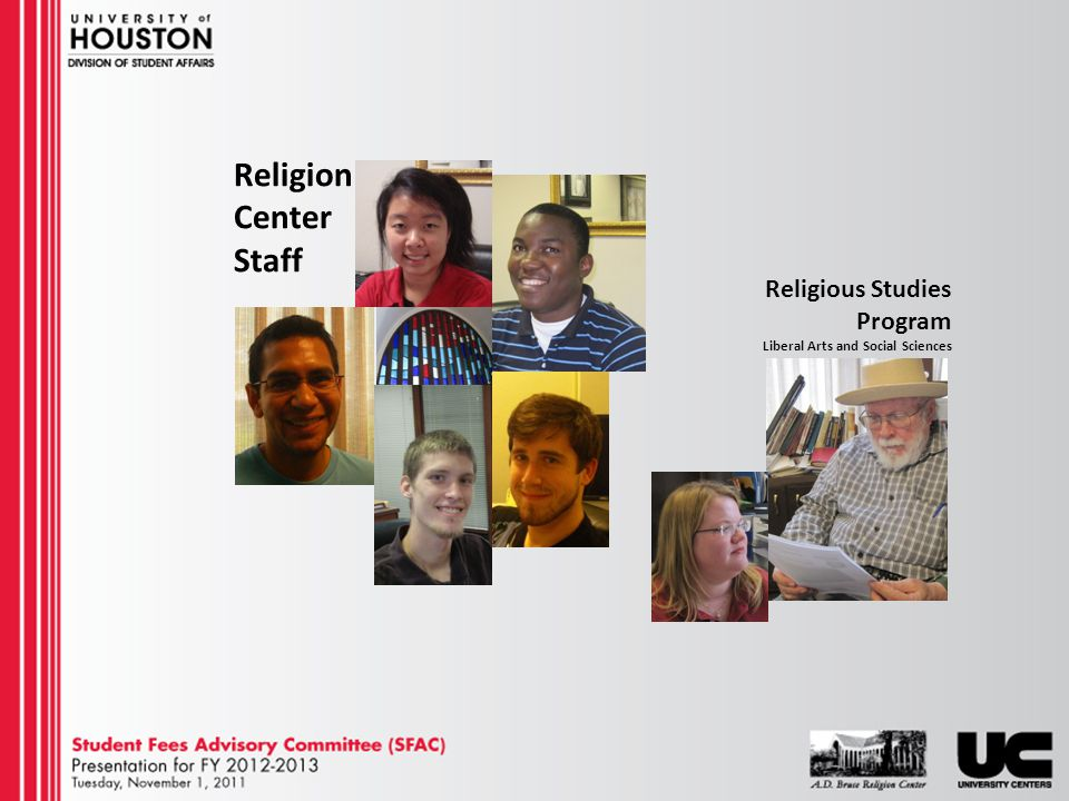 Religious Studies Program Liberal Arts and Social Sciences Religion Center Staff