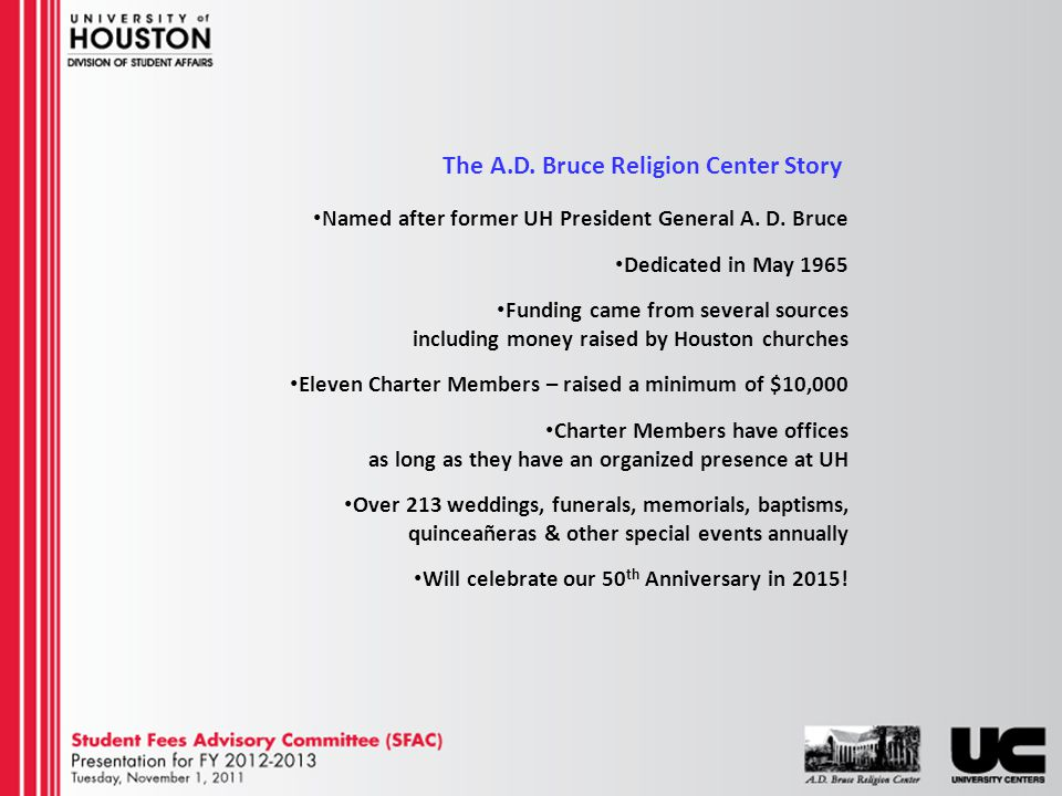 The A.D. Bruce Religion Center Story Named after former UH President General A.