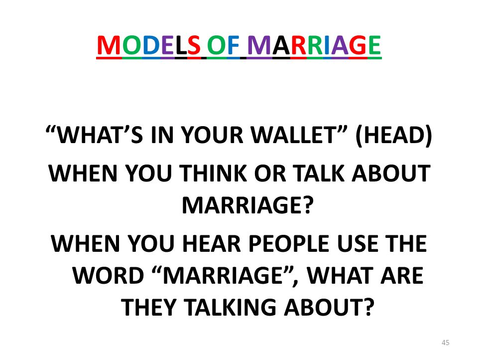 MODELS OF MARRIAGEMODELS OF MARRIAGE WHATS IN YOUR WALLET (HEAD) WHEN YOU THINK OR TALK ABOUT MARRIAGE.