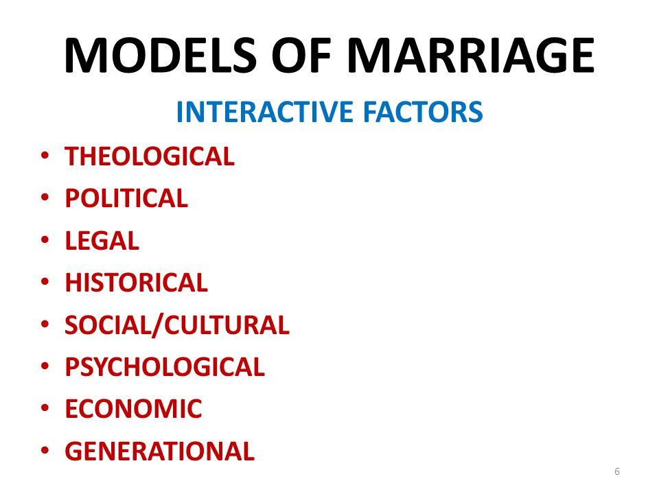 MODELS OF MARRIAGE INTERACTIVE FACTORS THEOLOGICAL POLITICAL LEGAL HISTORICAL SOCIAL/CULTURAL PSYCHOLOGICAL ECONOMIC GENERATIONAL 6