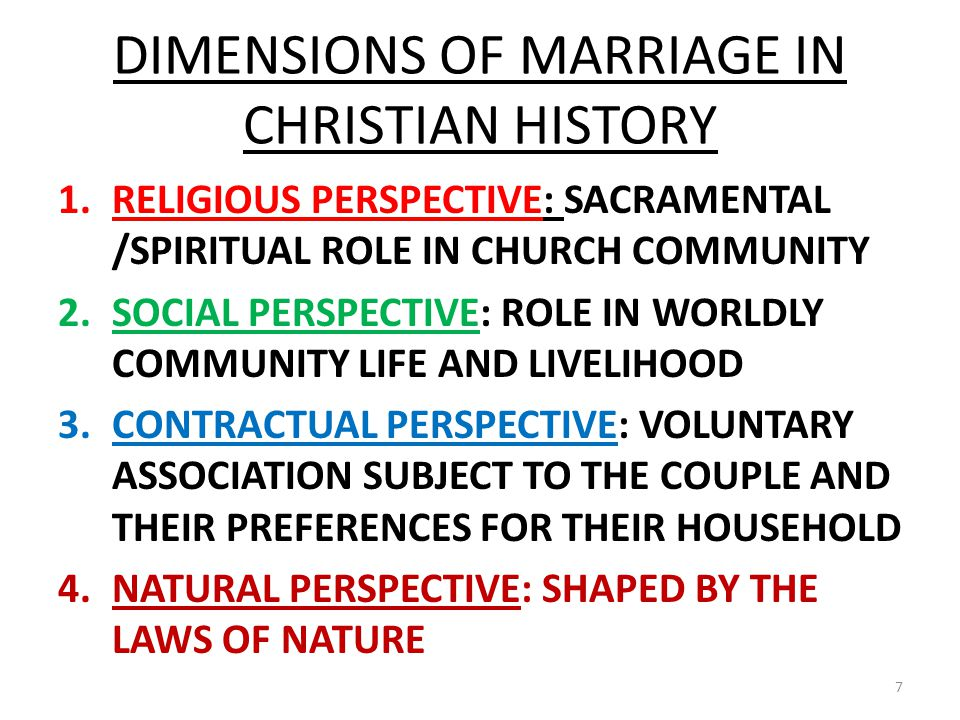 DIMENSIONS OF MARRIAGE IN CHRISTIAN HISTORY 1.RELIGIOUS PERSPECTIVE: SACRAMENTAL /SPIRITUAL ROLE IN CHURCH COMMUNITY 2.SOCIAL PERSPECTIVE: ROLE IN WORLDLY COMMUNITY LIFE AND LIVELIHOOD 3.CONTRACTUAL PERSPECTIVE: VOLUNTARY ASSOCIATION SUBJECT TO THE COUPLE AND THEIR PREFERENCES FOR THEIR HOUSEHOLD 4.NATURAL PERSPECTIVE: SHAPED BY THE LAWS OF NATURE 7
