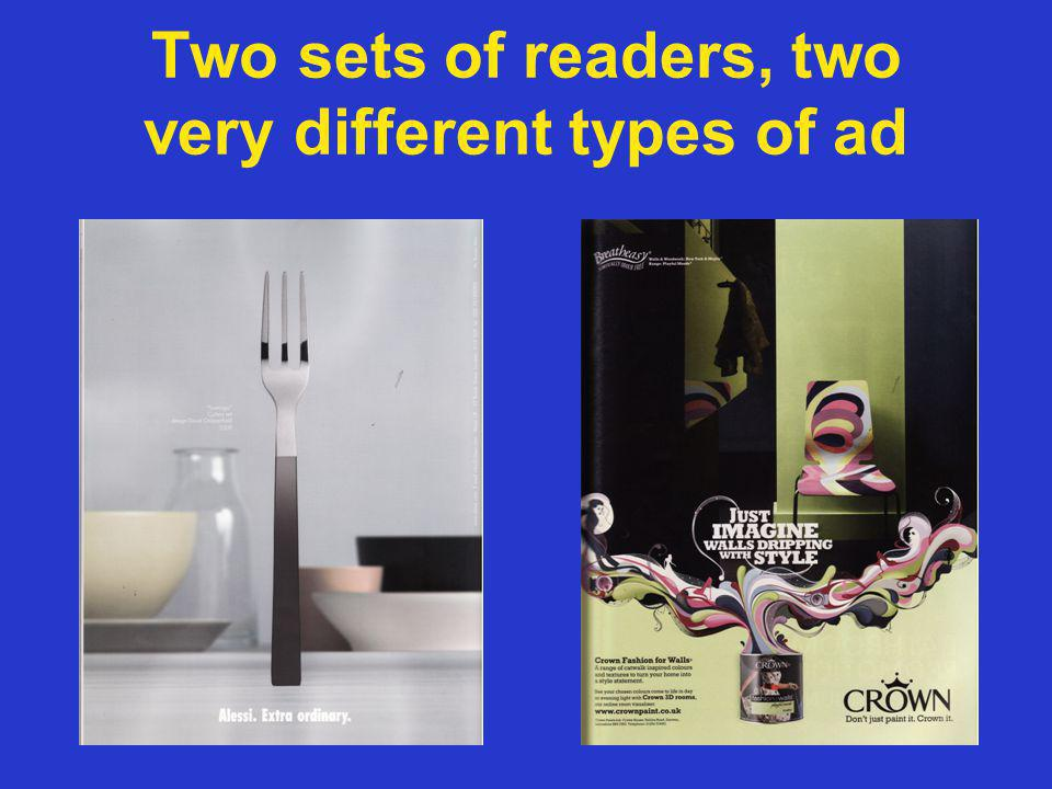 Two sets of readers, two very different types of ad