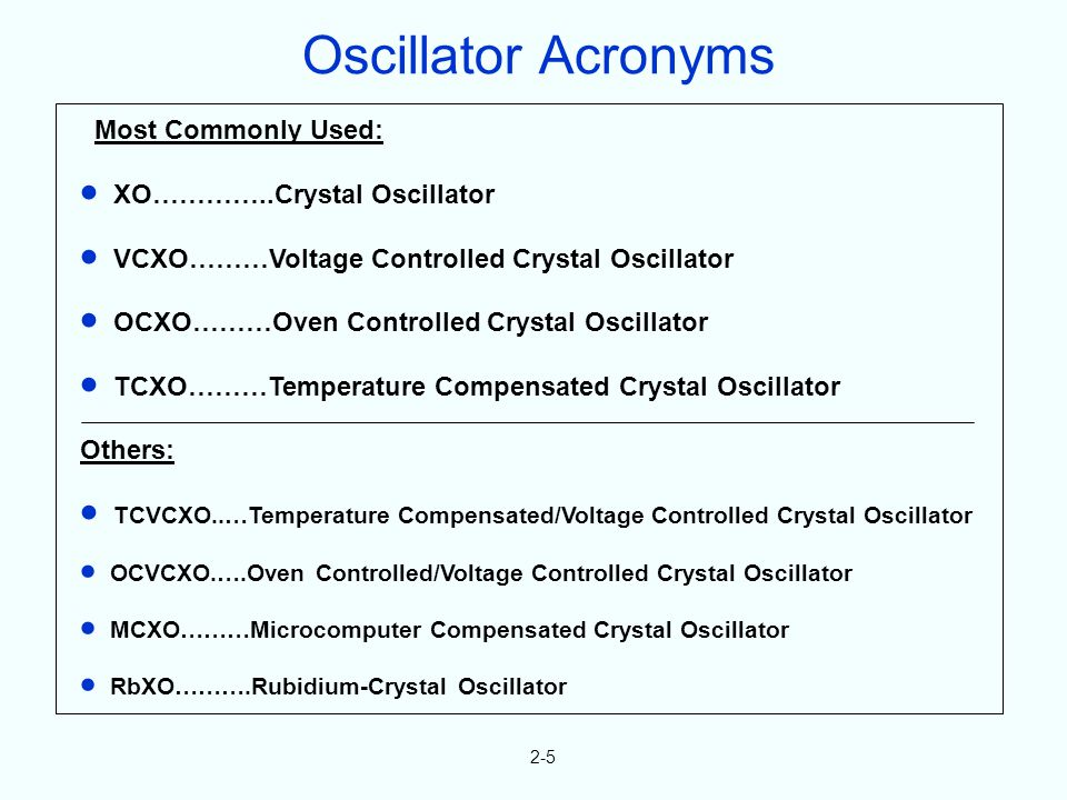 2-5 Most Commonly Used: XO…………..Crystal Oscillator VCXO………Voltage Controlled Crystal Oscillator OCXO………Oven Controlled Crystal Oscillator TCXO………Temperature Compensated Crystal Oscillator Others: TCVCXO..…Temperature Compensated/Voltage Controlled Crystal Oscillator OCVCXO.….Oven Controlled/Voltage Controlled Crystal Oscillator MCXO………Microcomputer Compensated Crystal Oscillator RbXO……….Rubidium-Crystal Oscillator Oscillator Acronyms