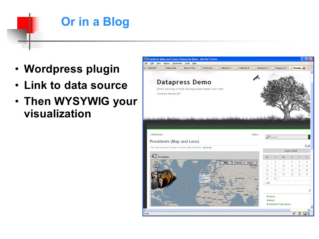 Or in a Blog Wordpress plugin Link to data source Then WYSYWIG your visualization