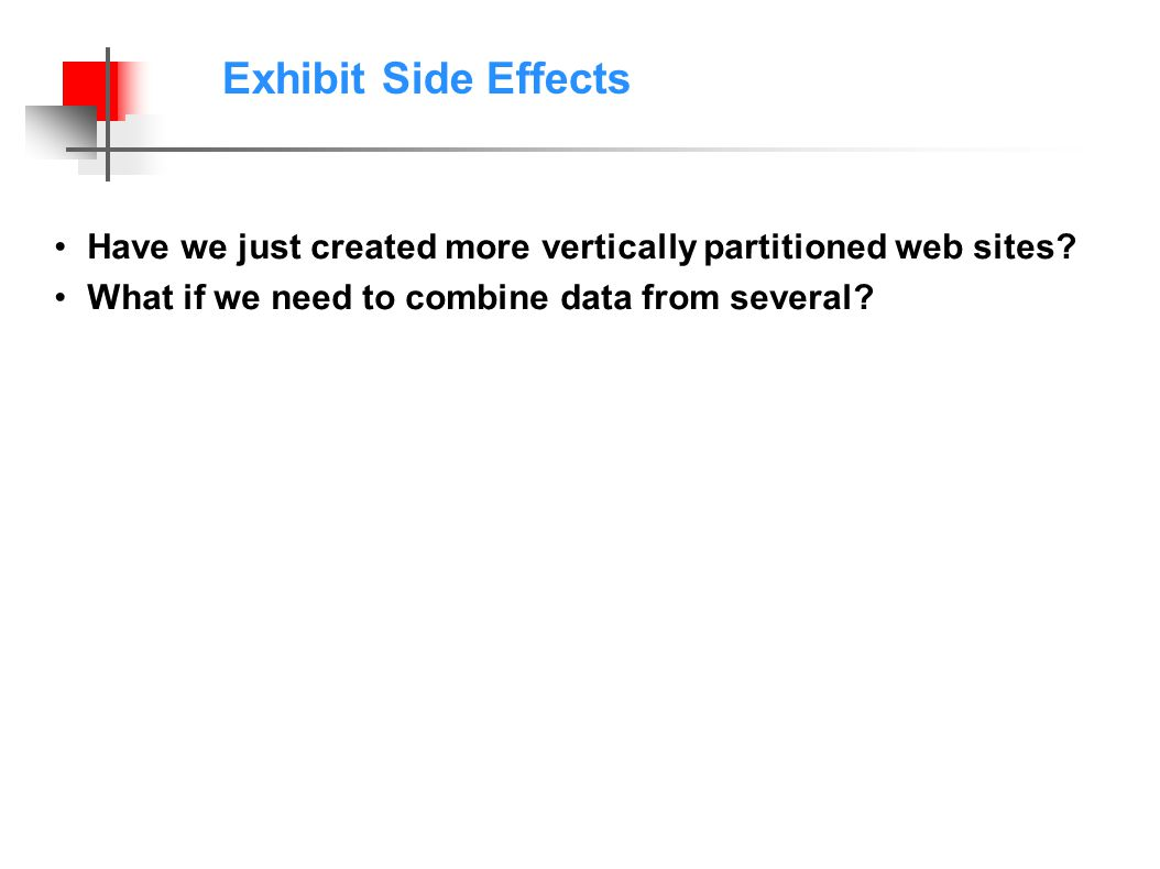Exhibit Side Effects Have we just created more vertically partitioned web sites.