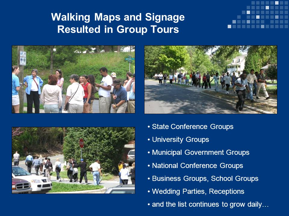 Walking Maps and Signage Resulted in Group Tours State Conference Groups University Groups Municipal Government Groups National Conference Groups Business Groups, School Groups Wedding Parties, Receptions and the list continues to grow daily…
