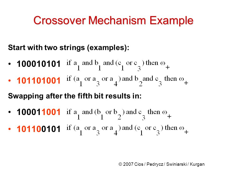© 2007 Cios / Pedrycz / Swiniarski / Kurgan Crossover Mechanism Example Start with two strings (examples): 100010101 101101001 Swapping after the fifth bit results in: 100011001 101100101