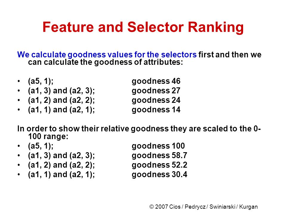 © 2007 Cios / Pedrycz / Swiniarski / Kurgan Feature and Selector Ranking We calculate goodness values for the selectors first and then we can calculate the goodness of attributes: (a5, 1); goodness 46 (a1, 3) and (a2, 3); goodness 27 (a1, 2) and (a2, 2); goodness 24 (a1, 1) and (a2, 1); goodness 14 In order to show their relative goodness they are scaled to the 0- 100 range: (a5, 1); goodness 100 (a1, 3) and (a2, 3); goodness 58.7 (a1, 2) and (a2, 2); goodness 52.2 (a1, 1) and (a2, 1); goodness 30.4