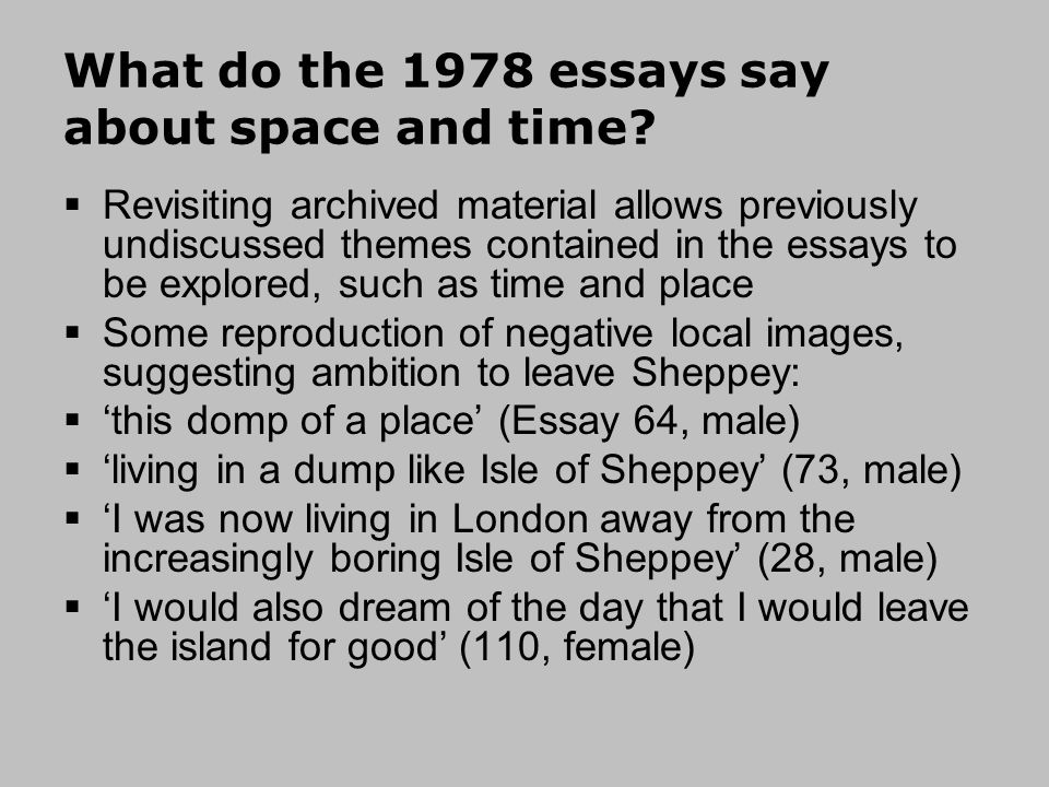 What do the 1978 essays say about space and time.