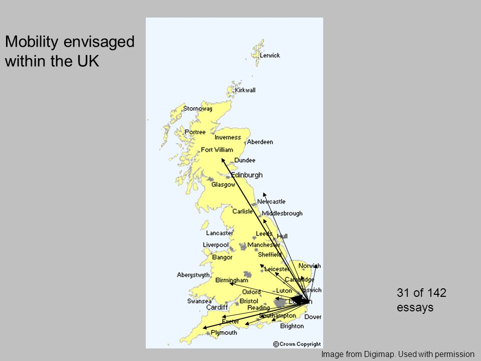 Image from Digimap. Used with permission Mobility envisaged within the UK 31 of 142 essays