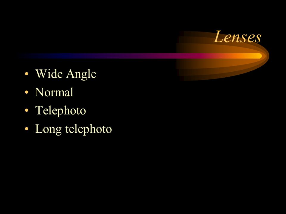 Lenses Wide Angle Normal Telephoto Long telephoto