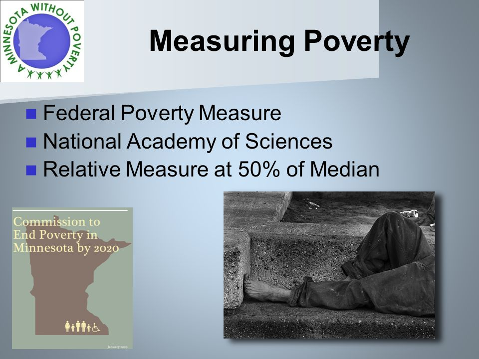 Measuring Poverty Federal Poverty Measure National Academy of Sciences Relative Measure at 50% of Median