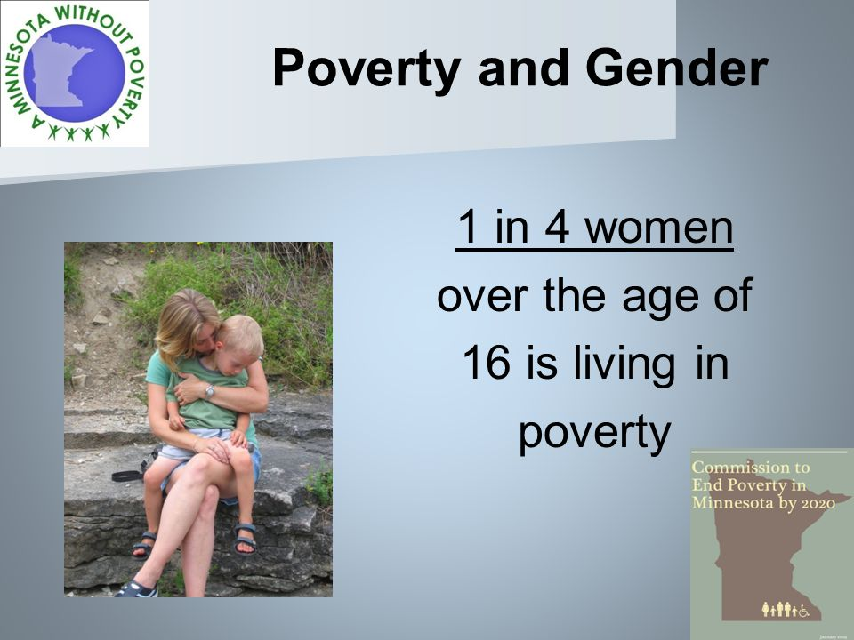 Poverty and Gender 1 in 4 women over the age of 16 is living in poverty