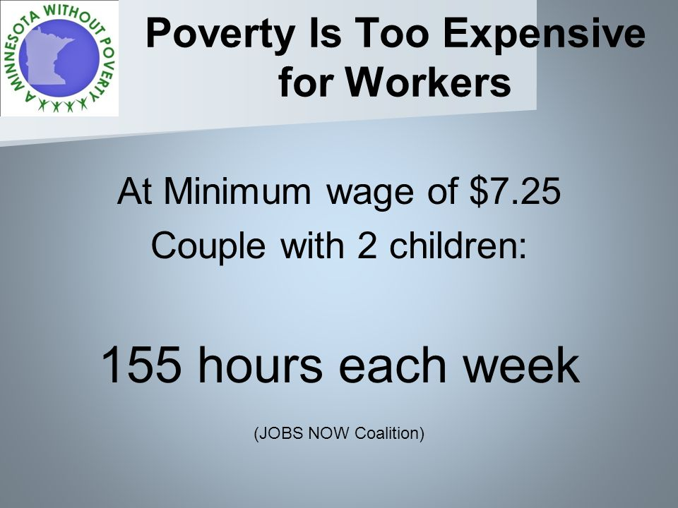 Poverty Is Too Expensive for Workers At Minimum wage of $7.25 Couple with 2 children: 155 hours each week (JOBS NOW Coalition)