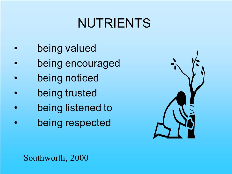 NUTRIENTS being valued being encouraged being noticed being trusted being listened to being respected Southworth, 2000