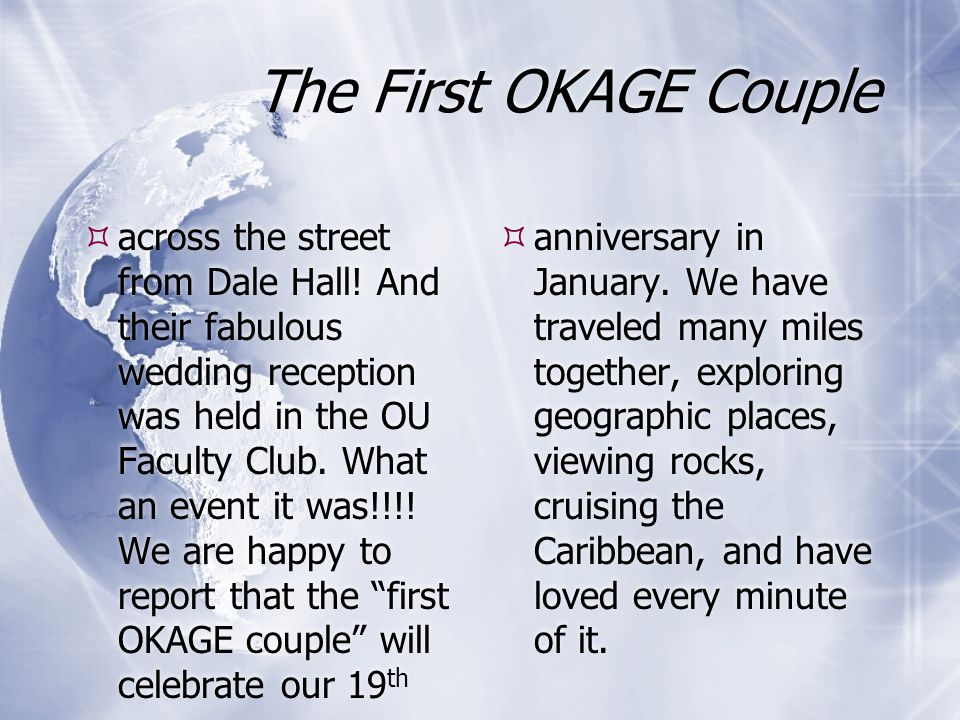 The First OKAGE Couple across the street from Dale Hall.