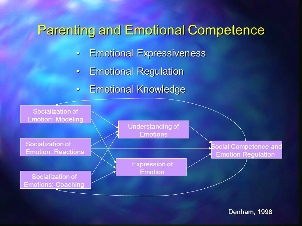 Parenting and Emotional Competence Emotional ExpressivenessEmotional Expressiveness Emotional RegulationEmotional Regulation Emotional KnowledgeEmotional Knowledge Socialization of Emotion: Modeling Socialization of Emotion: Reactions Socialization of Emotions: Coaching Understanding of Emotions Expression of Emotion Social Competence and Emotion Regulation Denham, 1998