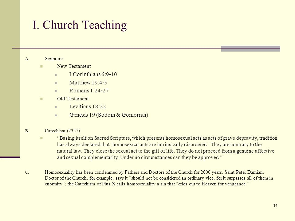 14 I. Church Teaching A.