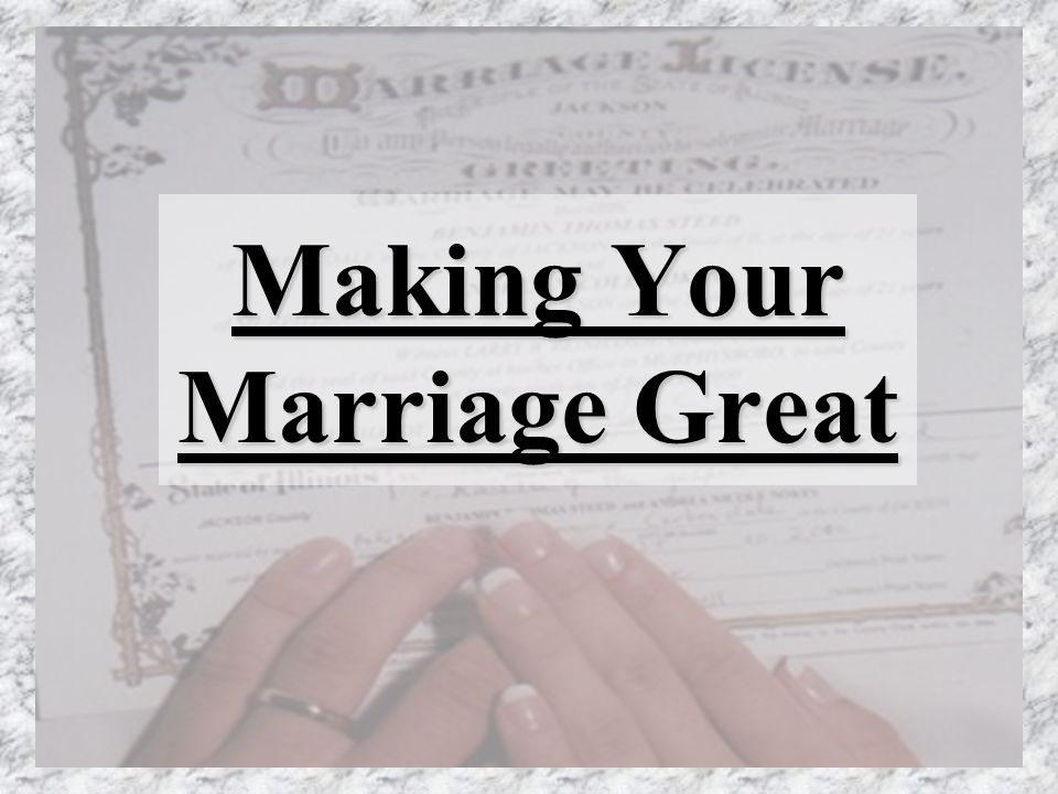 Making Your Marriage Great