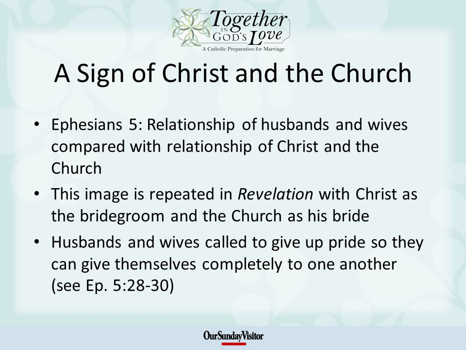 A Sign of Christ and the Church Ephesians 5: Relationship of husbands and wives compared with relationship of Christ and the Church This image is repeated in Revelation with Christ as the bridegroom and the Church as his bride Husbands and wives called to give up pride so they can give themselves completely to one another (see Ep.