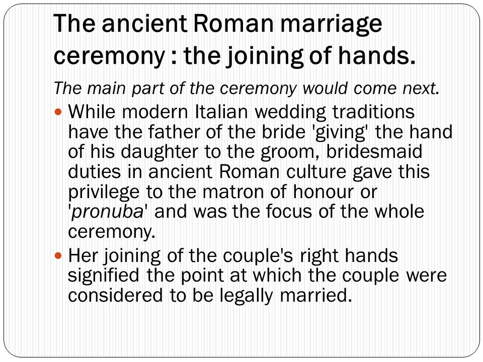 The ancient Roman marriage ceremony : the joining of hands.